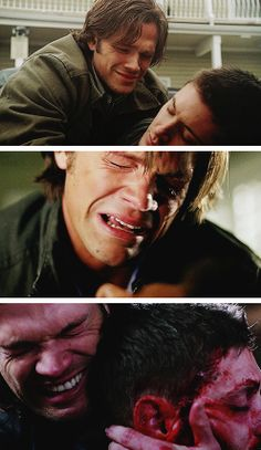 [gifset] Three times Dean died in Sam's arms- 3x11 Mystery Spot, 3x16 No Rest For The Wicked, and 9x23 Do You Believe In Miracles #SPN #Dean #Sam