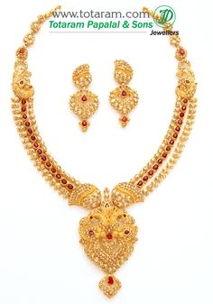 22K Gold Necklace & Ear Hangings Set with Uncut Diamonds & Rubies