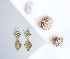 Double diamond Gold Leather Mesh Geometric Earrings + + + Ethically-made with reclaimed leather (via Scandinazn)
