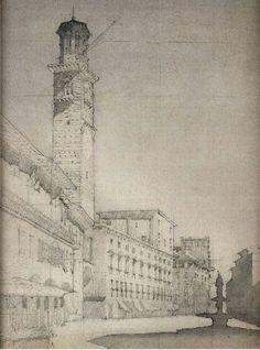 Piazza delle Erbe with the Campanile of the Palazzo del Comune, Verona, 1910  Click on the image for a larger picture
