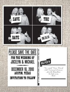 save the date photo booth postcard