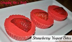 ~Strawberry Yogurt Bites~ These sweet treats couldn't be easier with only 2 ingredients. Something fun for the little ones mom can feel good about! Healthy Desserts, Just Desserts, Delicious Desserts, Yummy Food, Strawberry Desserts, Healthy Recipes, Snack Recipes, Dessert Recipes, Snacks