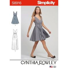 Simplicity Sewing Pattern Misses' Dresses 8916 from patterns and plains range of patterns for Women. Cynthia Rowley dresses in two lengths. Full short or front slit long skirt. Mccalls Patterns, Simplicity Sewing Patterns, Dress Sewing Patterns, Layette Pattern, Miss Dress, Babydoll Dress, Swagg, Fabric Design, Wrap Dress