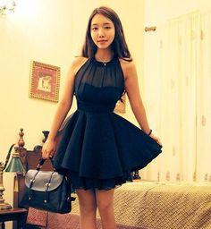 Item Type:DressCollar:Round NeckColor: Black , PinkSize:M,LSize (cm):M: Skirt Length : 82cm, Bust : 88cm, Waist : 70cm, Shoulder : 23cmL: Skirt Length : 84cm, B