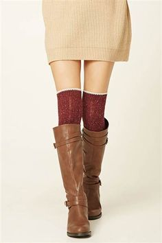 Pair these over the knee socks with boots and a skirt for a cute fall outfit. These socks are from Forever 21.