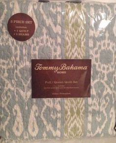 """Tommy Bahama Designer Quilt Set Queen/Full Prewashed Cotton w/Shams NEW 90""""x90"""" #TommyBahama"""
