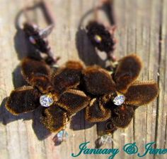 Earrings Velvet Ribbon Flower in brown with by JanuaryandJune, $15.00