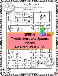 These music worksheets reinforce students' understanding and knowledge of Pitch on the TREBLE staff. They come in both PDF printable and digital format! This file contains ♫ TWELVE SPRING themed music mazes to review the pitch on the treble staff. ♫ TWELVE answer sheets ♫ TWELVE TpT Easel digital pages. Students can now complete the worksheets digitally! #mtr #musicteacher #musiced #musiceducation #musicteacherresources