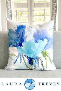 Shop these beautiful Throw Pillows (available in 4 different sizes) in the Blue as the Sea watercolor design by Laura Trevey.