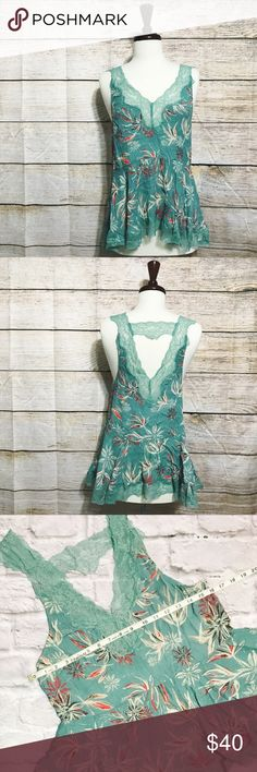 Free People Blue Patterned Lacy Tank Top Free People Blue Patterned Lacy Tank Top condition: EUC (excellent used condition) color: light teal  fit: more fitted // a bit small for medium other: see measurements to be sure of sizing in attached photos Free People Tops Tank Tops
