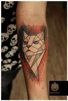 #Cat #geometric #pattern #colortattoo #patterntattoo #cutetattoo #beautifultattoo #forearmtattoo #awesometattoo #love #tattoo #leotattoos #Matunga #Mumbai #India
