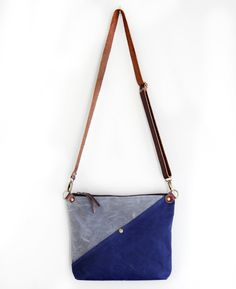 Waxed Canvas Day Bag Purse in Charcoal and Navy with by piprobins