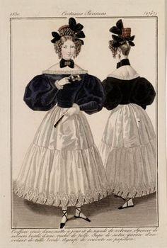1830. White-black morning dress.