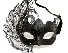 Black Masquerade Mask - Luxury Venetian Filigree Black Swan Laser Cut Metal Masquerade Ball Mask on Etsy, Black Masquerade Mask, Venetian Masquerade, Venetian Masks, Mascarade Mask, Masquerade Halloween Costumes, Masquerade Party, Half Mask, Laser Cut Metal, Accesorios Casual