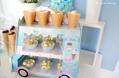 The ice cream car full of treats for this ice-cream themed baby shower