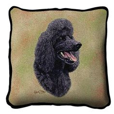 Black Poodle Dog Portrait Pillow