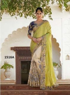 Rozdeal Lime Green & Cream Net Jacquard Designer Saree. STYLE: Designer Saree FABRIC: Georgette, Paper Silk WORK: Embroidered, Lace Work COLOUR: Green, Cream OCCASION: Party, Wedding, Festival, Reception Package Details : 1 saree::1 blouse Blouse available : Yes Blouse color : as per image Blouse Fabric : BANGLORY SILK Inner Fabric : Satin Saree Size:- 5.50 mtr Blouse Size:-0.80 mtr