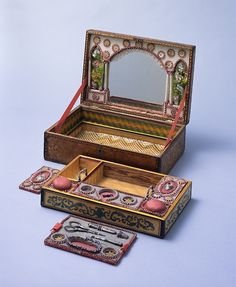 I love boxes and would kill for this one Sewing box late 18th century