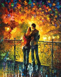 0335  Last Date - Palette Knife Oil Painting On Canvas By Leonid Afremov Print by Leonid Afremov