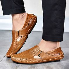 Tienda Online Gran Tamaño de Los Hombres Zapatos de Conducción de Cuero  Genuino Suave de Buena Calidad Los Hombres holgazanes Cómodos Marrón  Amarillo Azul ... 815eeea3a36