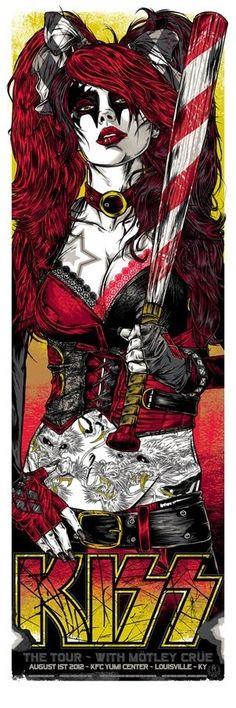 RHYS COOPER - KISS + MOTLEY CRUE- Classic rock music concert psychedelic poster ~ ☮~ღ~*~*✿⊱ レ o √ 乇 !! ~