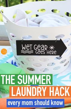genius mom tricks Handle summer laundry like a pro with this super simple organizing hack! Includes a free printable Cricut file to make your own sign. Organisation Hacks, Laundry Room Organization, Organizing, Diy Cleaners, Cleaners Homemade, Cleaning Recipes, Cleaning Hacks, Cleaning Schedules, Small Chalkboard Signs
