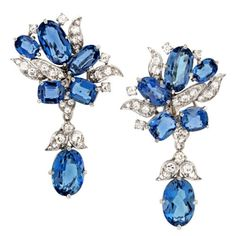 These day and night earrings feature sublime deep blue Santa Maria aquamarines.   Circa 1950s