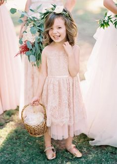 totally blushing over this sweet flower girl look Rustic Flower Girls, Lace Flower Girls, Lace Flowers, Wedding Flowers, Blush Flower Girl Dresses, Flower Girl Dresses Boho, Girls Dresses, Bridesmaid Flowers, Wedding Bridesmaids