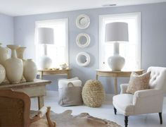 Sweet innocence example in a room. Benjamin Moore Sweet Innocence Used in a many a psychologists office for calming effects. Benjamin Moore Bedroom, Benjamin Moore Paint, Psychologist Office, Counseling Office, Counselling Room, Gray Home Offices, Therapy Office Decor, Blue And Green, Blue Rooms