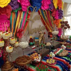 Fiesta / Mexican Bridal/Wedding Shower Party Ideas Photo 10 of 19 Mexican Birthday Parties, Mexican Fiesta Party, Fiesta Theme Party, Festa Party, Mexican Dessert Table, Mexican Candy Table, Kid Parties, Theme Parties, Party Themes