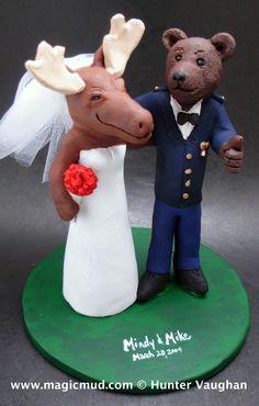 custom made moose and bear wedding cake toppers by http://blog.magicmud.com   $235   magicmud@magicmud.com   1 800 231 9814    https://www.facebook.com/PersonalizedWeddingCakeToppers    https://twitter.com/caketoppers    #bear#moose#military#armyblues#wedding #cake #toppers  #custom #personalized #Groom #bride #anniversary #birthday#weddingcaketoppers#cake toppers#figurine#gift#wedding cake toppers