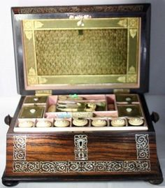 Mother-of-Pearl Tools & INLAID SEWING BOX MAHOGANY LINED IN SILK - c1800's.