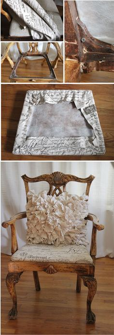 french scroll fabric to reupholster chairs.
