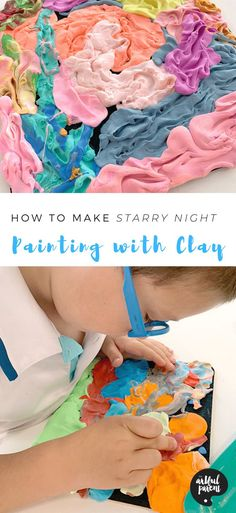 How to Make Starry Night by Painting with Clay.  #3DART #Clay #Playdough #Painting #Craftsforkids  #PaintingTechniques #KidsArt #KidsActivities #ArtforKids #ArtfulParent
