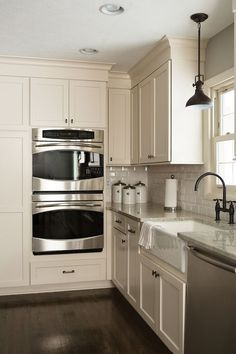 off white cape cod cabinets with laminate floor - Google Search