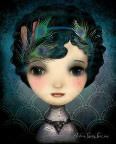 Art Deco Illustration Print Drawing Girl by BarbaraSzepesiSzucs, $20.00