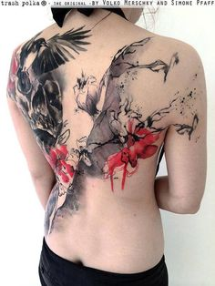Back piece of trash polka style tattoo. Tattoo artist: Simone Pfaff