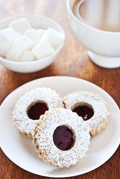 Blueberry Linzer biscuits. . . . #cookies, #dessert, #linzer