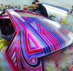 Custom Motorcycle Paint Jobs, Custom Paint Jobs, Custom Cars, Custom Bikes, Lace Painting, Air Brush Painting, Car Paint Jobs, Auto Paint, Roof Paint