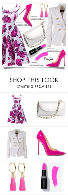 """""""Rosegal    6"""" by nejra-l ❤ liked on Polyvore featuring Balmain, Jimmy Choo, Mignonne Gavigan, Summer, dress, promotion and rosegal"""