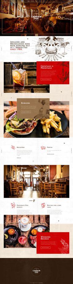 L'Amour Fou - Vintage Restaurant Design Website Layout, Web Layout, Layout Design, Webdesign Inspiration, Website Design Inspiration, Vintage Web Design, Webdesign Layouts, Restaurant Website Design, Flat Web Design