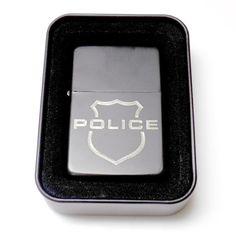 Police LE Cop Badge Shield Black Engraved  Cigarette Lighter LEN-0146
