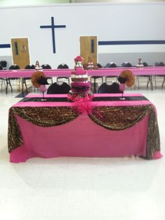 Head table of baby shower , cheetah and hot pink!