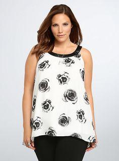 5bc922f3dcd Rose Print Hi-Lo Tank Top. Leather CollarTorridPlus Size TopsPassion For FashionTank  TopsWomens ...