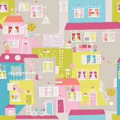 Street Life Pink & Blue wallpaper by Galerie