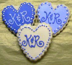 Monogrammed Wedding Cookies http://www.papermyday.com/item_380/LP--Monogrammed-hearts-wedding-cookie-favors--U-PICK-COLORS.htm
