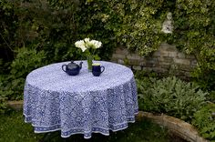 ROUND BLOCK PRINTED TABLECLOTH – BLUE AND WHITE DESIGN TABLECLOTH