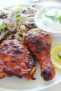 Tandoori chicken in the oven or pan easy recipe Recipe For Tandoori Chicken, Grilled Tandoori Chicken, Sauce For Chicken, How To Cook Chicken, Meat Recipes, Indian Food Recipes, Chicken Recipes, Cooking Recipes, Healthy Recipes