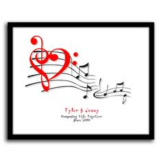 Check out Music Of Love! The treble and bass come together to form a heart. Perfect Valentine's day gift! $49.95 http://www.personal-prints.com/Music-Of-Love_p_760.html#.VLV4k4rF-XQ