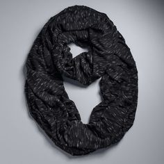 Simply Vera Vera Wang Heathered Jersey Pleated Infinity Scarf ($22) ❤ liked on Polyvore featuring accessories, scarves, black, infinity loop scarves, round scarves, tube scarf, jersey infinity scarves and jersey scarves